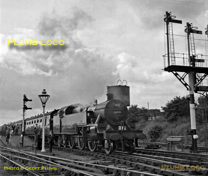 "LMS Fowler 4MT 2-6-4T No. 42350 has just returned from visiting the branch to Uppingham, the train having been hauled back by 2-6-2T No. 41225 on the other end of the train and is soon to depart for Peterborough via Wansford. This was the RCTS ""Fernie Railtour"" which started from Northampton Castle station on Saturday 25th August 1962. B&W Neg No. 171."