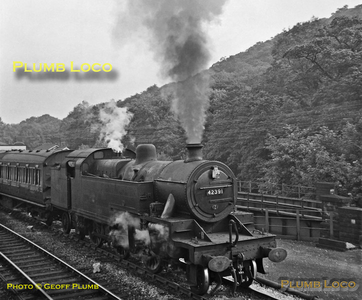 LMS Fowler 4MT 2-6-4T No. 42391 starts energetically away from  Dore & Totley station with a stopping passenger train from Sheffield to Manchester via the Hope Valley, Monday 13th August 1962. B&W Neg No. 134.