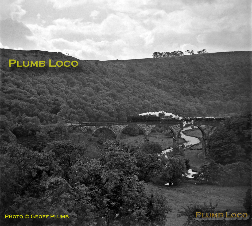 An unidentified BR Standard 9F 2-10-0 drifts downgrade across Headstone Viaduct over the River Wye in Monsal Dale at the head of a southbound mineral train, on the now long closed Midland main line from Derby to Manchester. Wednesday 15th August 1962. B&W Neg No. 151.