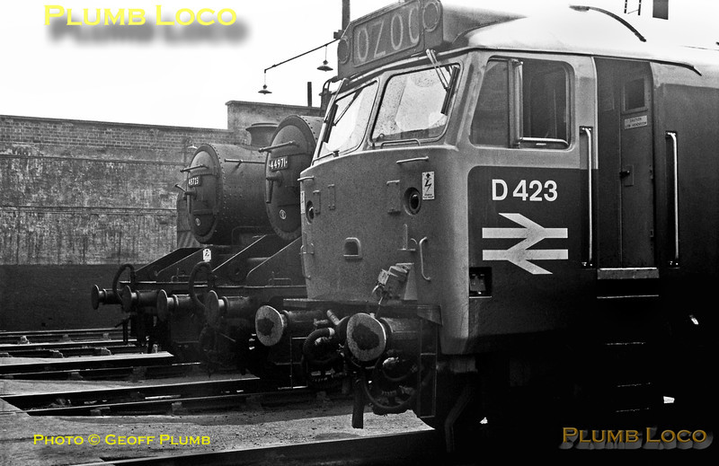 "Then almost brand new Class 50 No. D423 stands alongside ""Black 5"" 4-6-0 No. 44971 and 8F 2-8-0 No. 48723 in steam at Lostock Hall shed during the last few weeks of steam operation in the area. Saturday 1st June 1968."