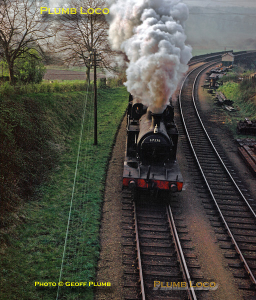 From the Geoff Plumb Collection of original slides. Seen from the Uffington Road bridge, ex-GNR 4-4-2T, LNER Class C12 No. 67376, is leaving Stamford with the 07:35 train to Essendine, having just crossed the bridge over the River Welland. Thursday 13th September 1956. Photo by D.E. White.