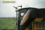 Seen from the leading brakevan of an RCTS special from Goole, Hunslet Class 05 204hp 0-6-0DM No. D2611 takes the branch from Marshland Junction onto the Isle of Axholme Light Railway (Lancashire & Yorkshire Railway & North Eastern Railway Joint Line) and heads for Reedness Junction. Note the NER milepost 9 (where from?) at the base of the signal post. Saturday 14th September 1963. Slide No. 370.