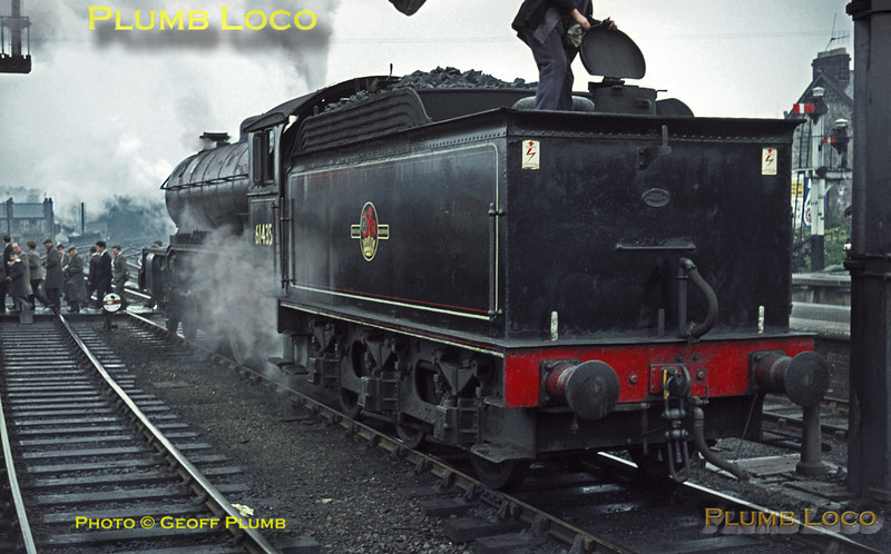 """LNER B16/2 4-6-0 No. 61435 was one of a few survivors at this time and the last to be withdrawn around three months later. It had arrived with the RCTS """"North Yorkshireman"""" Railtour at Harrogate in appalling weather from Leeds. It came off the train to be replaced by a filthy """"Black 5"""", No. 44790, for the run to Boroughbridge and return to Starbeck, where 61435 took over again. Saturday 25th April 1964. Slide No. 601."""