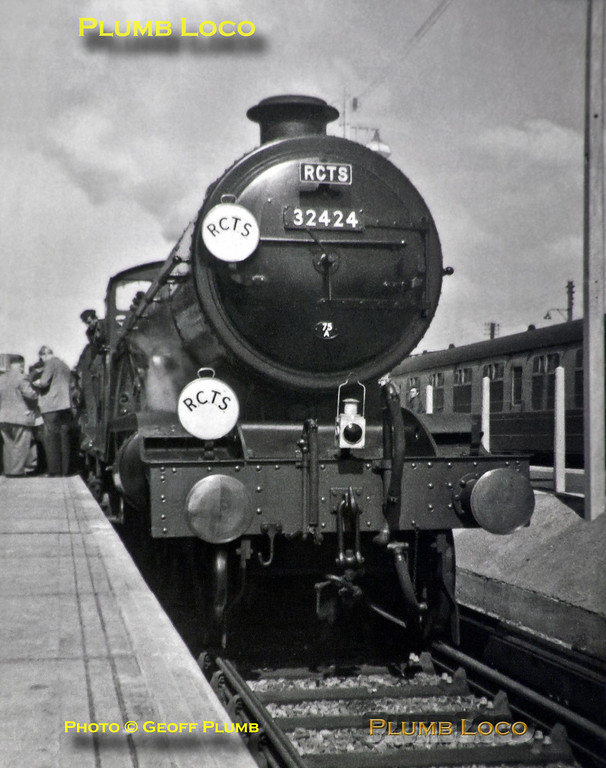 "My very first photograph, taken on my father's Box Brownie! Ex-LB&SCR H2 Class 4-4-2 (Brighton Atlantic) No. 32424 ""Beachy Head"" at Newhaven with the RCTS ""Sussex Coast"" Railtour on Sunday 13th April 1958. This was the engine's final trip before withdrawal and scrapping. B&W Neg No. 1."