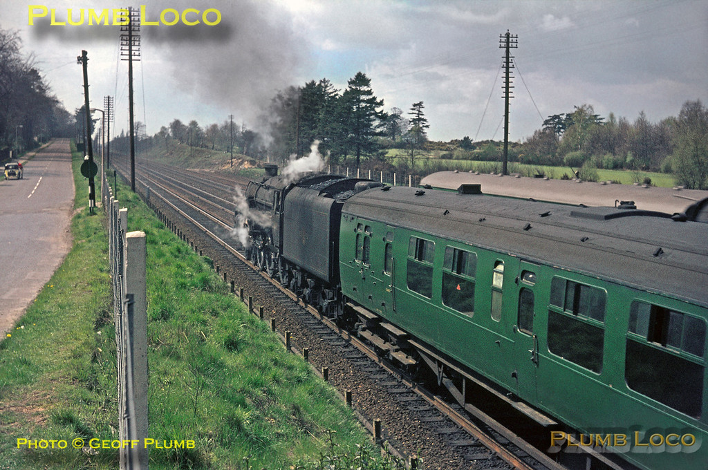 """The train hauled by 34008 is just visible as BR Standard 5MT 4-6-0 No. 73118 """"King Leodegrance"""" departs from Fleet with the 12:39 stopper from Waterloo to Basingstoke. Saturday 24th April 1965. Slide No. 1290."""