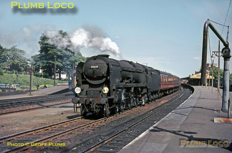 "BR (S) rebuilt Bulleid ""Merchant Navy"" Class 4-6-2 No. 35029 ""Ellerman Lines"" restarts from Basingstoke station while in charge of the southbound ""Pines Express"" on the afternoon of Saturday 22nd May 1965. Slide No. 1336."