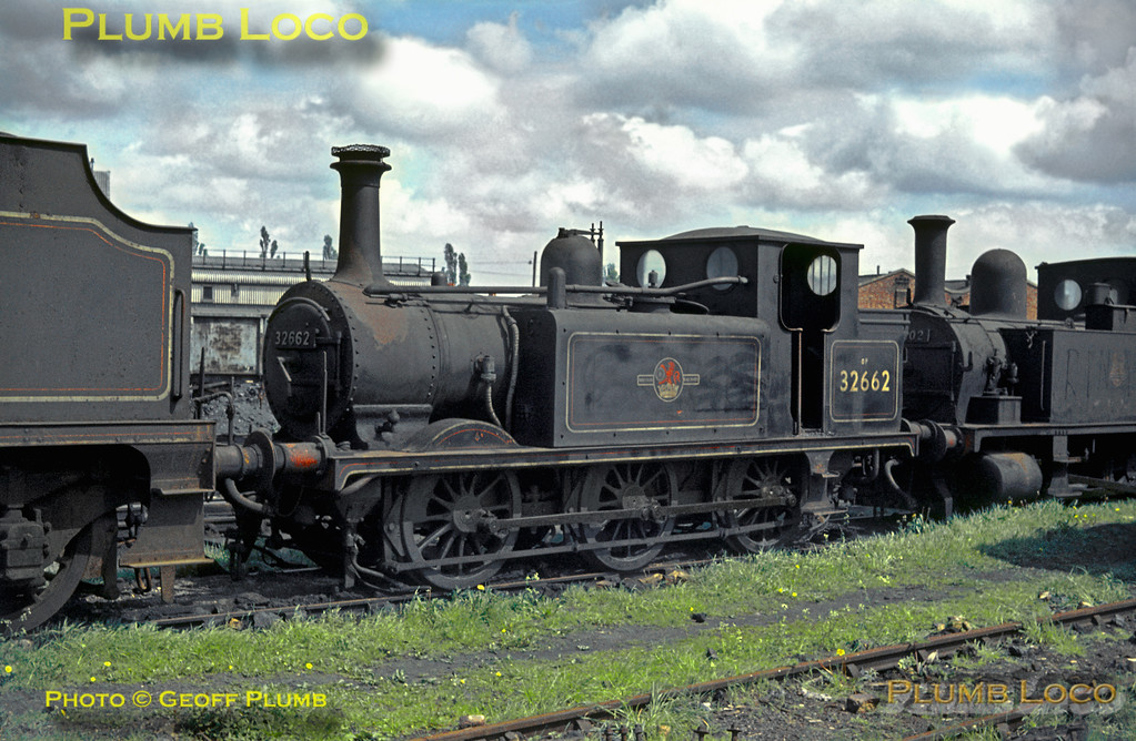 "Ex-LB&SCR ""Terrier"" Class A1X 0-6-0T No. 32662 has reached the scraproad at Eastleigh MPD along with several other engines, including B4 Class 0-4-0T No. 30102 behind and an unidentified tender engine in front. Fortunately, both the tank engines survived into preservation. Saturday 9th May 1964. Slide No. 655."