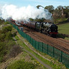 17th April 2011. The Edinburgh to Inverness leg of the Great Britain IV steam excursion passes Linton Court between Kinghorn & Kirkcaldy in Fife. Hauled by LMS Royal Scot Class 7P No 46115  - Scots Guardsman.