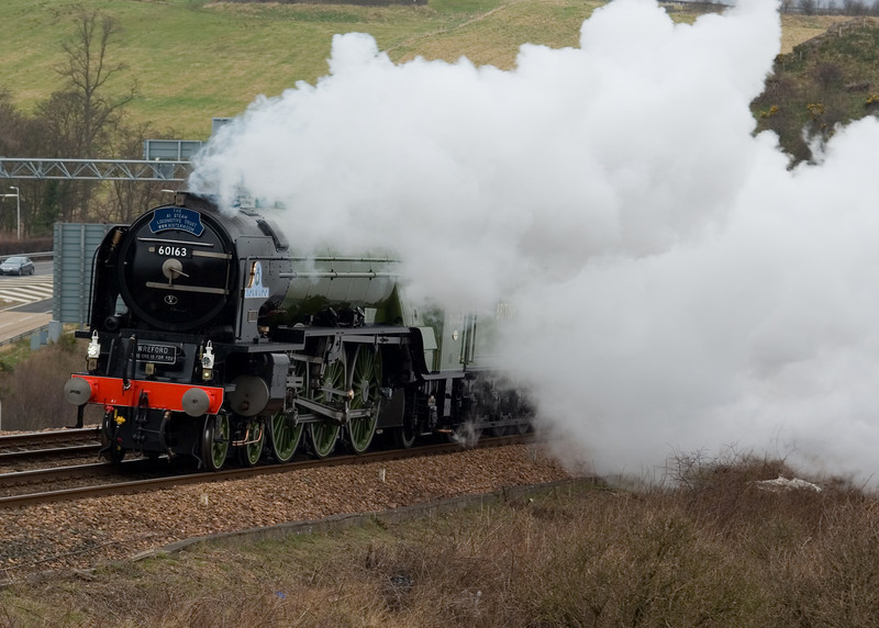 7th March 2009. LNER A1 Class 4-6-2 No 60163 Tornado passes Ferrytoll outside Inverkeithing on its run from Thornton to Millerhill Yard in Edinburgh.