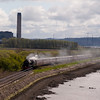 28th April 2012. 46115 Scots Guardsman with the SRPS Forth Circle excursion approaches the Kincardine Bridge.