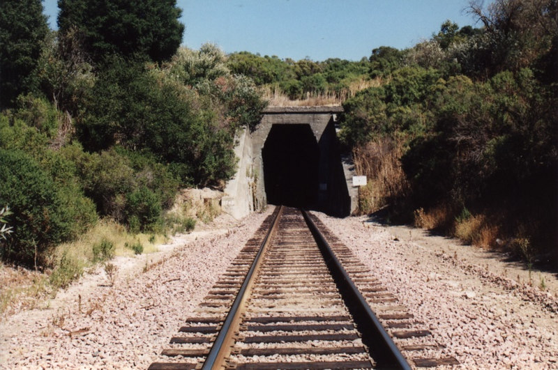 The west portal of Tunnel 3. Tunnel 3 is 1.2 miles long and was the longest tunnel on the Santa Fe before it was merged into the Burlington Northern.