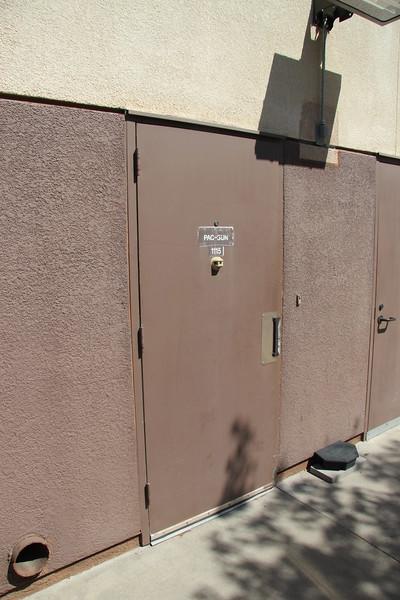 """Rear access door, door opens fully, width is 33""""."""