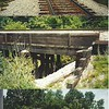 A collage showing the actual location being modeled shown as Johnson Drain on the map, at the 5 mile road and CSX railroad tracks in Northville, MI near Plymouth.