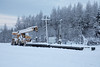 Rail and road crane at Moosonee train station.