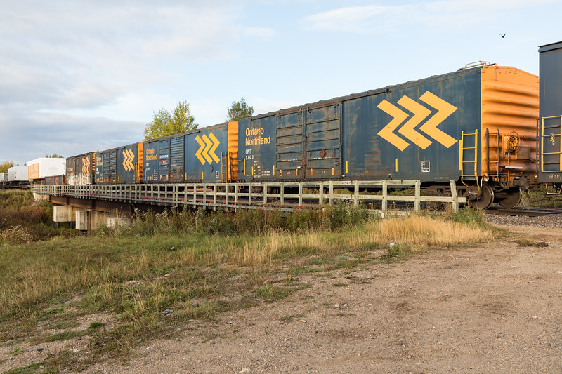 Boxcars on the bridge. Freight 419