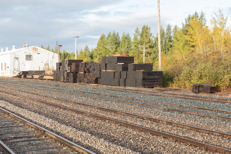 Ties stockpiled at Moosonee station.