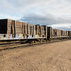 GP38-2 locomotives 1804 and 1806 lead freight 419 into Moosonee. Bulkheads with ties.