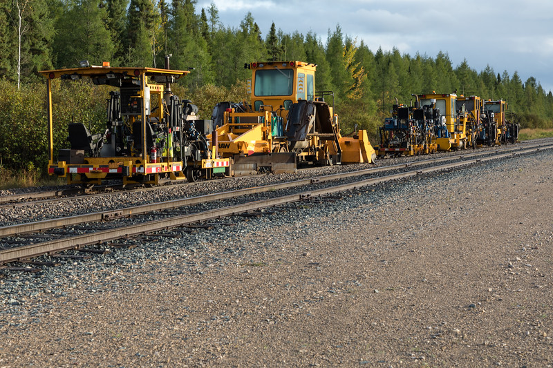 Maintenance of way equipment north of Moosonee station.