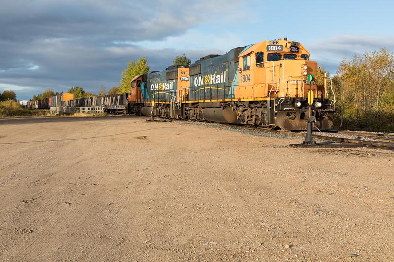 GP38-2 locomotives 1804 and 1806 lead freight 419 into Moosonee.