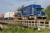 Part of freight train 419 crossing Store Creek in Moosonee.