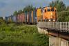 GP38-2 1806 leads freight 419 into Moosonee across Store Creek.