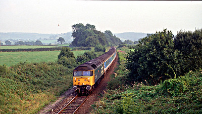 47971 passes Melbury Bubb with the 2Z32 1800 Weymouth - Westbury additional on 19-08-1992. Additional services were run due to the Radio One Road show being in town!