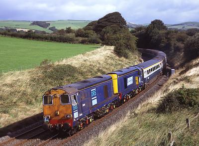 20306 + 20301 pass Pennington with a Huddersfield-Carlisle charter 29/8/09