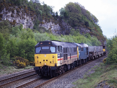 31422 + 31450 pass Meathop with flasks to Sellafield on 25/5/96.