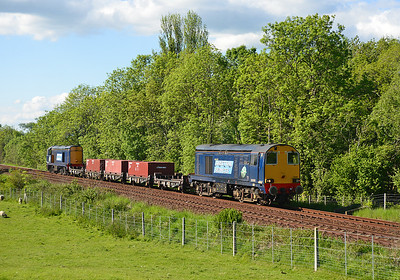 20305 hauls a special Sellafield-Crewe working (with 20309 dead on the rear) at Arnside 4/6/13.