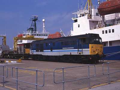 Regional Railways 31465 waits to haul imported flasks from Ramsden Dock to Sellafield 19/7/96.