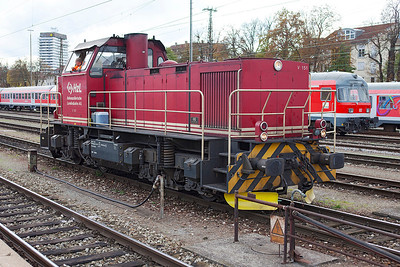 Hohenzollerische Landesbahn's V151 waits to head into the yard at Ulm. 26th October 2009.