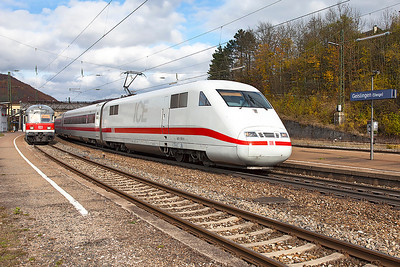 401 551 heads south through Geislingen (Steige) bound for Munich. 27th October 2009.