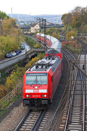 146 210 heads away from Ulm on a service to Mosbach-Neckarelz. 26th October 2009.