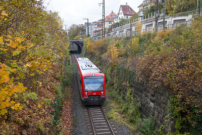 650 321 passes under the mainline on a branchline service from Ulm to Ellwangen. 26th October 2009.