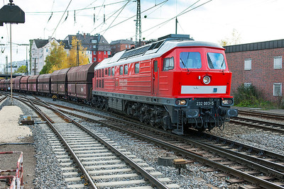 232 093 takes the freight avoiding line through Ulm with coal hoppers from the south. 26th October 2009.