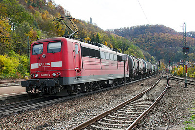 151 150 provides banking duties on a southbound tank train at Geislingen (Steige). 27th October 2009.