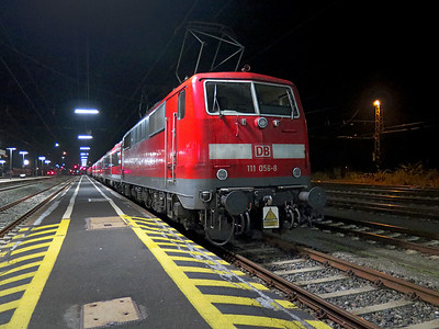 111 056 stabled for the night at Gemünden Station. Tuesday 23rd September 2014.