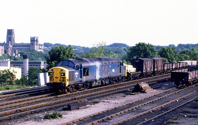 37011 heads a northbound mixed freight past Durham. 5th June 1981.
