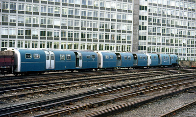 Waterloo & City cars stored at Waterloo following replacement by modern stock. 1993
