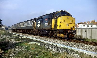 37427 'BontYBermo' heads away from Weston-super-Mare on a Taunton to Bristol service. 1988.
