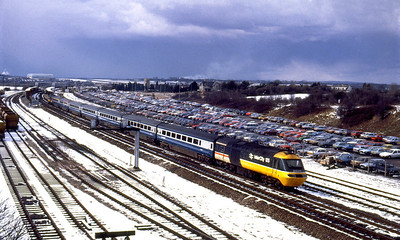 With the sky looking as though its about to deposit some more snow 253005 leads a Paddington bound service away from Bristol Parkway. Date unknown.