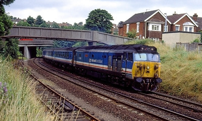 50018 'Resolution' arrives at Salisbury with the 11.00 Waterloo to Exeter St. Davids. 15th July 1991.