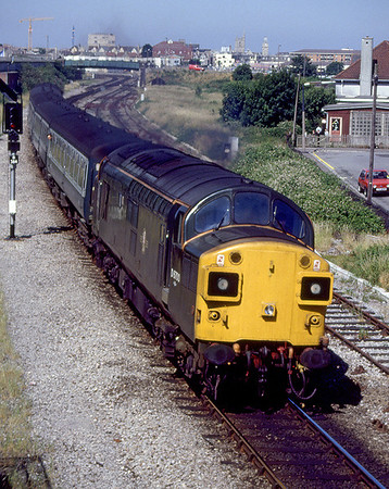 37350/D6700 powers away from Weston-super-Mare passing Langford Road on a Taunton to Bristol stopping service. 1988.