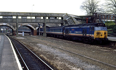 50048 'Dauntless' arrives at Exeter Central with a Waterloo to Exeter St. Davids service. 9th April 1991.