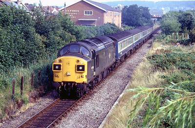 Green 37350/D6700 heads away from Weston-super-Mare at Exeter Road with a Taunton stopping service. 1988.