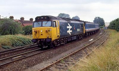 50046 'Ajax' heads away from Salisbury with the 12.13 Salisbury to Waterloo. 15th July 1991.