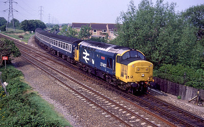 37407 'Loch Long' comes off the loop line at Worle Junction with a stopping service for Bristol. 1988.