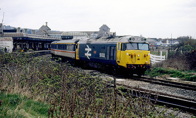 50033 'Glorious' waits to depart from Weston-super-Mare with a westbound Intercity service. 1980's.