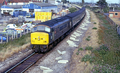 45104 has aquired some Tinsley embellishments and is seen approaching Weston-super-Mare with an afternoon stopping service fron Cardiff Central. Date unknown.