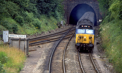 50017 'Royal Oak' passes Salisbury Tunnel Junction with the 11.55 Exeter St. Davids to Waterloo. 15th July 1991.